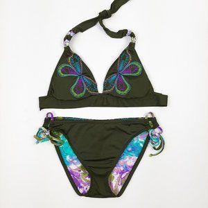 Lucky Brand Olive Green Butterfly Swim Suit Bikini